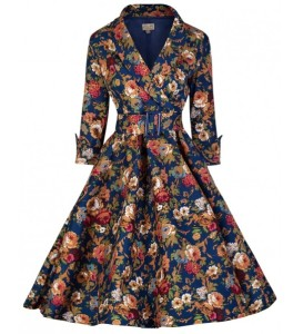 retro saty lindy bop vivi dark blue floral