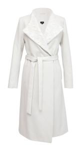 Elisha - dlouhý bílý zavinovací kabát s krajkovým límcem, cena 8240