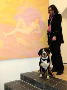 pes na obrazu s psem modelem