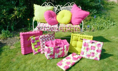 Garden Cushions in Pink and Lime