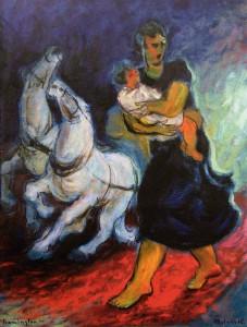 Obraz Hnáni strachem 1941, olej na plátně