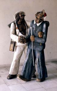 Velký zájem na výstavě vzbudily dřevěné plastiky Michaela Bílka