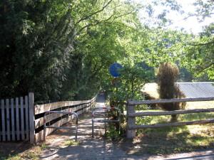 Nausen, dlouhá dřevěná lávka jej spojuje se sousední vesnicí Lenčínem