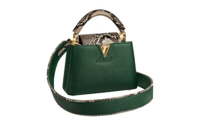 Capucines Mini in emeraude taurillon and phython leather (2)
