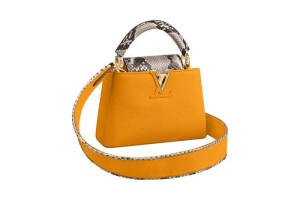 Capucines Mini in jaune d'or taurillon and phyton leather