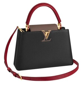 Capucines PM in noir, taupe and rouge carmin in taurillon leather (2)