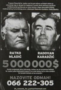 Plakát, kterým se nabízela odměna za informace o Radovanu Karadžičovi a Ratku Mladičovi