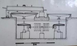 Nákres strojovny Arnoštovy leštírny včetně podzemí
