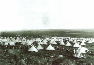 Stovky stanů na holé pláni u Bloemfontein. Obrázek shodný pro všechny britské koncentrační tábory, zřízené v době druhé búrské války. Prosadit zlepšení podmínek trvalo více jak rok, téměř polovina internovaných v nich zemřela. Život zde ztratilo 50% búrské dětské populace…
