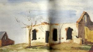 Kresba ze skicáku zobrazující vypálenou farmu