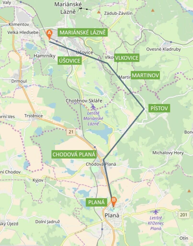 Mapka pochodu Mariánské Lázně – Planá