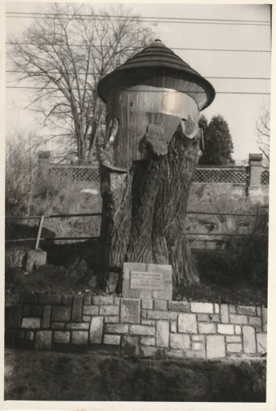 Komenského lípa, nejpamátnější místo v Suchdole nad Odrou. Zde Mistr kázával, když docházel do obce navštěvovat své členy Jednoty bratrské. Foto z roku 1909 a po zastřešení v roce 1970