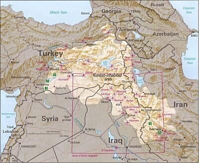 Mapa Kurdistánu (Kurdy obývané oblasti k roku 1992)