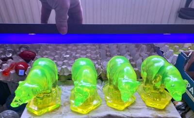 Krása uranového skla ožívá při osvícení UV trubicí.